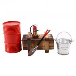 Kit de Decoração crawler 1/10 tanques 1/16 Caixa+bidon+pá+balde+Extintor