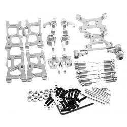 Kit de acessórios Aluminio, suporte de roda, torres e juntas esféricas - Buggy de alumínio Wltoys 144001