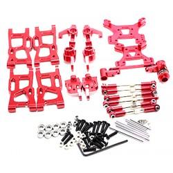 Kit de acessórios Aluminio Vermelho, suporte de roda, torres e juntas esféricas - Buggy de alumínio Wltoys 144001