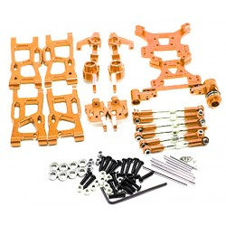 Kit de acessórios Aluminio Dourado, suporte de roda, torres e juntas esféricas - Buggy de alumínio Wltoys 144001