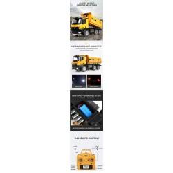 Camião Huina 1582 Metal RC 1/14 com basculante RTR com luzes e sons.