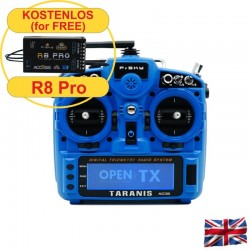 TARANIS X9D plus 2019 EU/LBT FrSky transmitter Sky Blue with SC-card, without accu, 2,4Ghz + R8pro