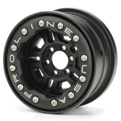 "PROLINE FAULTLINE 2.2"" BLK/BLK BEADLOCK 6 LUG WHEELS FOR YETI"