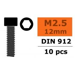 Hex Socket Head Screw - M2,5X12 - Steel - 10 pcs