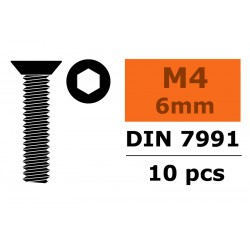 Hex Flat Head Screw - M4X6 - Steel - 10 pcs