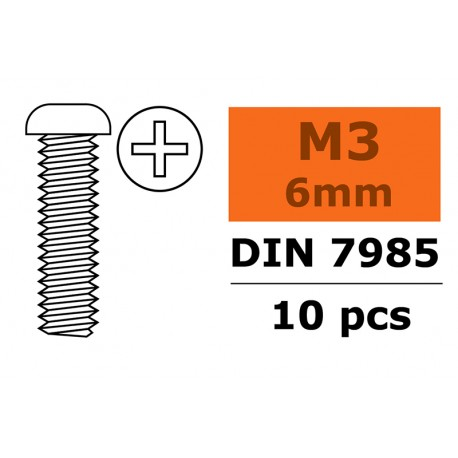 Pan Head Screw - M3X6 - Galvanized Steel - 10 pcs