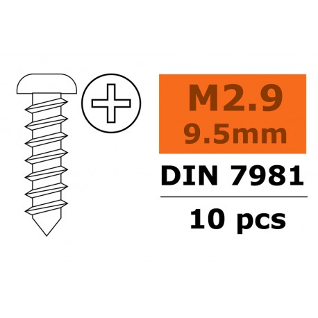 Self-tapping Pan Head Screw - 2,9X9,5mm - Galvanized Steel - 10 pcs