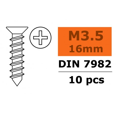 Self-tapping Flat Head Screw - 3,5X16mm - Galvanized Steel - 10 pcs