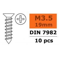 Self-tapping Flat Head Screw - 3,5X19mm - Galvanized Steel - 10 pcs
