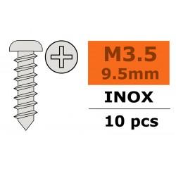 Self-tapping Pan Head Screw - 3,5X9,5mm - Inox - 10 pcs