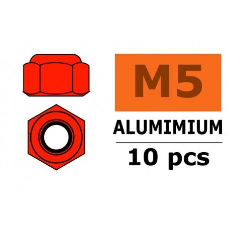 Aluminium Nylstop Nut - M5 - Red - 10 pcs