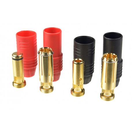 Ficha AS-150 - Anti Spark - Gold Plated - Male + Female - Red + Black - 2 pairs