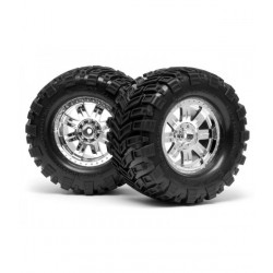 MOUNTED SUPER MUDDERS TIRE 165x88mm On RINGZ WHEEL SHINY CHR