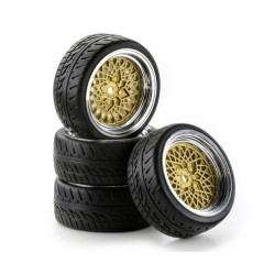 Tires 1:10 SC Classic Style ch/gold (4)