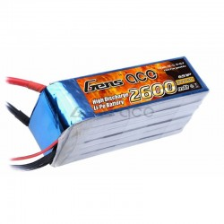 Battery, Gens Ace 2600mah 22.2V 45C 6S1P Lipo
