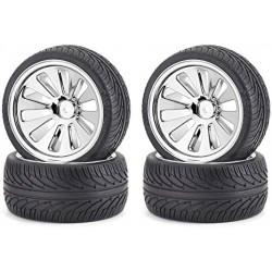 On-road tyre set, chrome (4) C V-10B 1/10