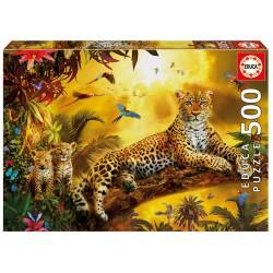 Puzzle 500 LEOPARDO COM AS SUAS CRIAS