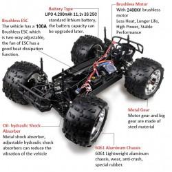 Carro Monsteur 1/8 HSP Mokier Brushless Azul Lipo 2.4Ghz