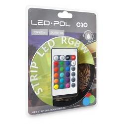 Kit completo de fita de LED RGB+W 3000K (branco quente) 72W 300 LEDs 5m c/ comando IP20
